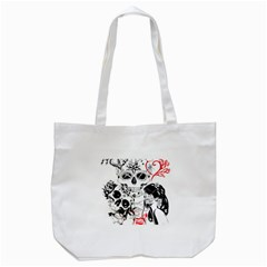 Skull Love Affair Tote Bag (white) by vividaudacity