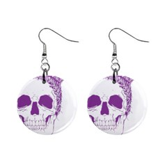 Purple Skull Bun Up Mini Button Earrings by vividaudacity