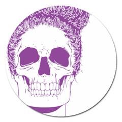 Purple Skull Bun Up Magnet 5  (round) by vividaudacity