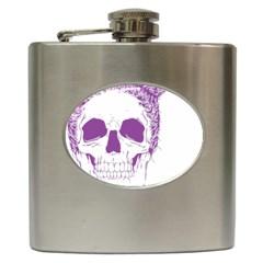 Purple Skull Bun Up Hip Flask by vividaudacity