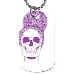 Purple Skull Bun Up Dog Tag (two Sided)  by vividaudacity