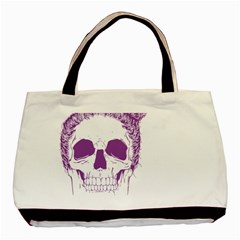Purple Skull Bun Up Twin Sided Black Tote Bag by vividaudacity