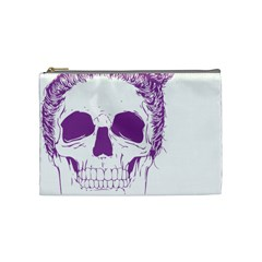 Purple Skull Bun Up Cosmetic Bag (medium) by vividaudacity