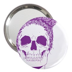 Purple Skull Bun Up 3  Handbag Mirror by vividaudacity