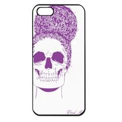 Purple Skull Bun Up Apple Iphone 5 Seamless Case (black) by vividaudacity