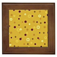 Abstract Geometric Shapes Design In Warm Tones Framed Ceramic Tile by dflcprints