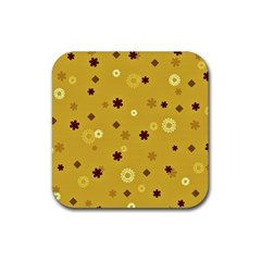 Abstract Geometric Shapes Design In Warm Tones Drink Coaster (square) by dflcprints