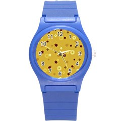 Abstract Geometric Shapes Design In Warm Tones Plastic Sport Watch (small) by dflcprints