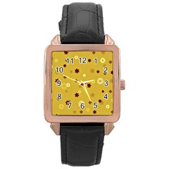 Abstract Geometric Shapes Design In Warm Tones Rose Gold Leather Watch  by dflcprints