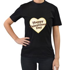 Heart Shaped Happy Valentine Day Text Design Women s T Shirt (black) by dflcprints