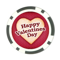 Heart Shaped Happy Valentine Day Text Design Poker Chip (10 Pack) by dflcprints