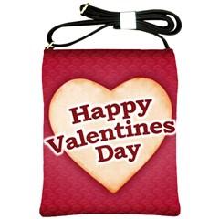 Heart Shaped Happy Valentine Day Text Design Shoulder Sling Bag by dflcprints
