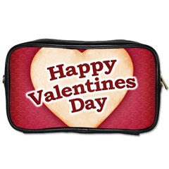 Heart Shaped Happy Valentine Day Text Design Travel Toiletry Bag (two Sides) by dflcprints