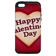 Heart Shaped Happy Valentine Day Text Design Apple Iphone 5 Hardshell Case (pc+silicone) by dflcprints