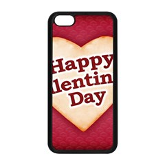 Heart Shaped Happy Valentine Day Text Design Apple Iphone 5c Seamless Case (black) by dflcprints