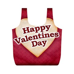 Heart Shaped Happy Valentine Day Text Design Reusable Bag (m) by dflcprints