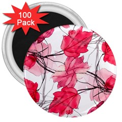 Floral Print Swirls Decorative Design 3  Button Magnet (100 Pack) by dflcprints