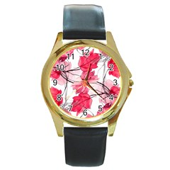 Floral Print Swirls Decorative Design Round Leather Watch (gold Rim)  by dflcprints