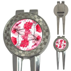 Floral Print Swirls Decorative Design Golf Pitchfork & Ball Marker by dflcprints