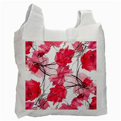 Floral Print Swirls Decorative Design White Reusable Bag (one Side) by dflcprints