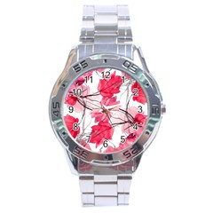Floral Print Swirls Decorative Design Stainless Steel Watch by dflcprints