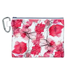 Floral Print Swirls Decorative Design Canvas Cosmetic Bag (large) by dflcprints