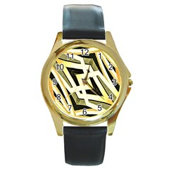 Art Print Tribal Style Pattern Round Leather Watch (gold Rim)  by dflcprints