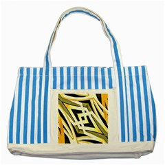 Art Print Tribal Style Pattern Blue Striped Tote Bag by dflcprints