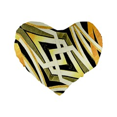 Art Print Tribal Style Pattern 16  Premium Flano Heart Shape Cushion  by dflcprints
