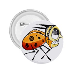 Funny Bug Running Hand Drawn Illustration 2 25  Button by dflcprints