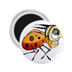 Funny Bug Running Hand Drawn Illustration 2.25  Button Magnet by dflcprints