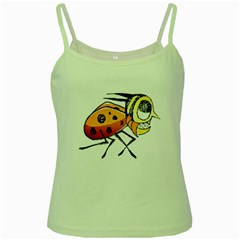 Funny Bug Running Hand Drawn Illustration Green Spaghetti Tank by dflcprints