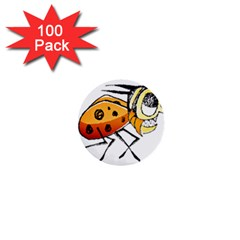 Funny Bug Running Hand Drawn Illustration 1  Mini Button (100 Pack) by dflcprints