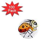 Funny Bug Running Hand Drawn Illustration 1  Mini Button Magnet (100 Pack) by dflcprints