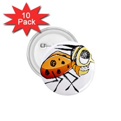 Funny Bug Running Hand Drawn Illustration 1 75  Button (10 Pack) by dflcprints