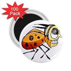 Funny Bug Running Hand Drawn Illustration 2 25  Button Magnet (100 Pack) by dflcprints