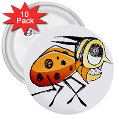 Funny Bug Running Hand Drawn Illustration 3  Button (10 Pack) by dflcprints