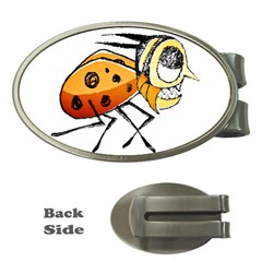 Funny Bug Running Hand Drawn Illustration Money Clip (oval) by dflcprints