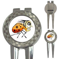 Funny Bug Running Hand Drawn Illustration Golf Pitchfork & Ball Marker by dflcprints