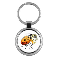 Funny Bug Running Hand Drawn Illustration Key Chain (round) by dflcprints