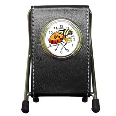 Funny Bug Running Hand Drawn Illustration Stationery Holder Clock by dflcprints