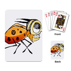 Funny Bug Running Hand Drawn Illustration Playing Cards Single Design by dflcprints