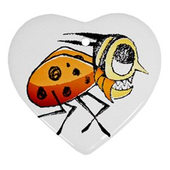 Funny Bug Running Hand Drawn Illustration Heart Ornament (two Sides) by dflcprints