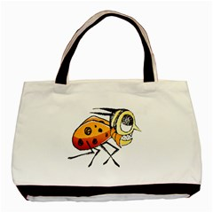 Funny Bug Running Hand Drawn Illustration Twin-sided Black Tote Bag by dflcprints