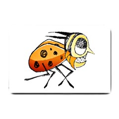 Funny Bug Running Hand Drawn Illustration Small Door Mat by dflcprints
