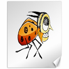 Funny Bug Running Hand Drawn Illustration Canvas 11  x 14  (Unframed) by dflcprints