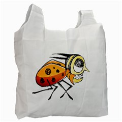 Funny Bug Running Hand Drawn Illustration White Reusable Bag (two Sides) by dflcprints