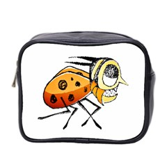 Funny Bug Running Hand Drawn Illustration Mini Travel Toiletry Bag (two Sides) by dflcprints