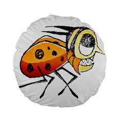 Funny Bug Running Hand Drawn Illustration 15  Premium Round Cushion  by dflcprints