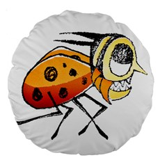 Funny Bug Running Hand Drawn Illustration 18  Premium Round Cushion  by dflcprints